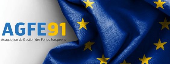 Drapeau européen et sigle de l'Association de gestion des Fonds sociaux européens en Essonne